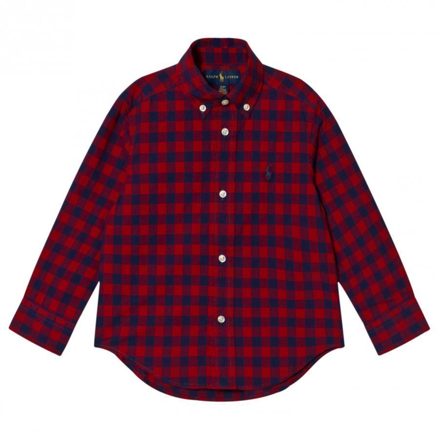 Ralph Lauren Red Gingham Long Sleeve Shirt Kauluspaita
