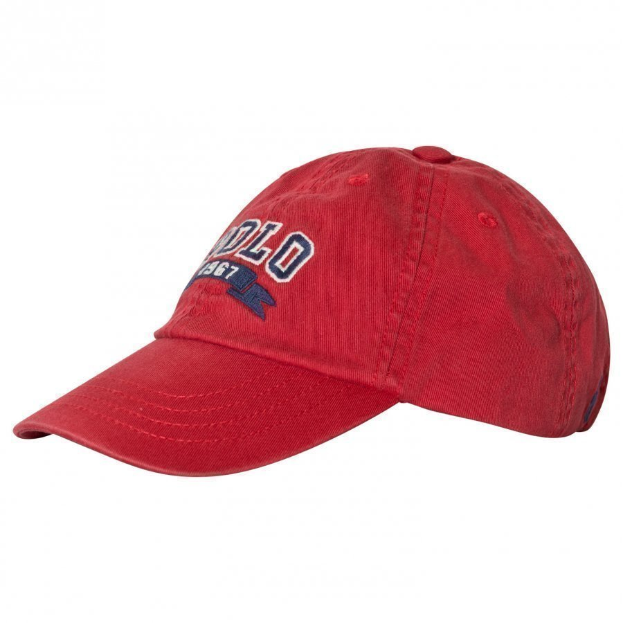 Ralph Lauren Red Polo Applique Cap Lippis
