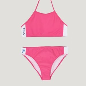 Ralph Lauren Solid Swimwear 2 Pc Swim Bikinit Vaaleanpunainen