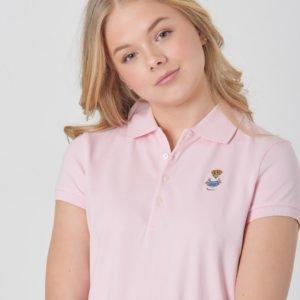 Ralph Lauren Ss Bear Polo Tops Knit Pikee Vaaleanpunainen