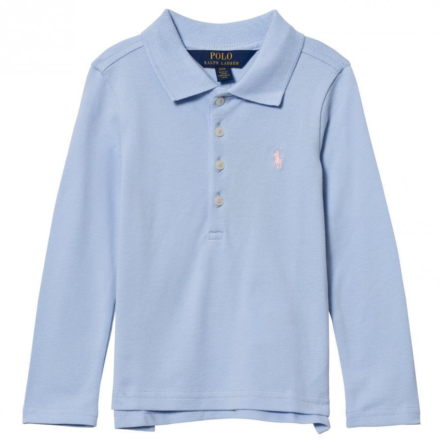 Ralph Lauren Stretch Mesh Long Sleeve Polo Blue Pikeepaita