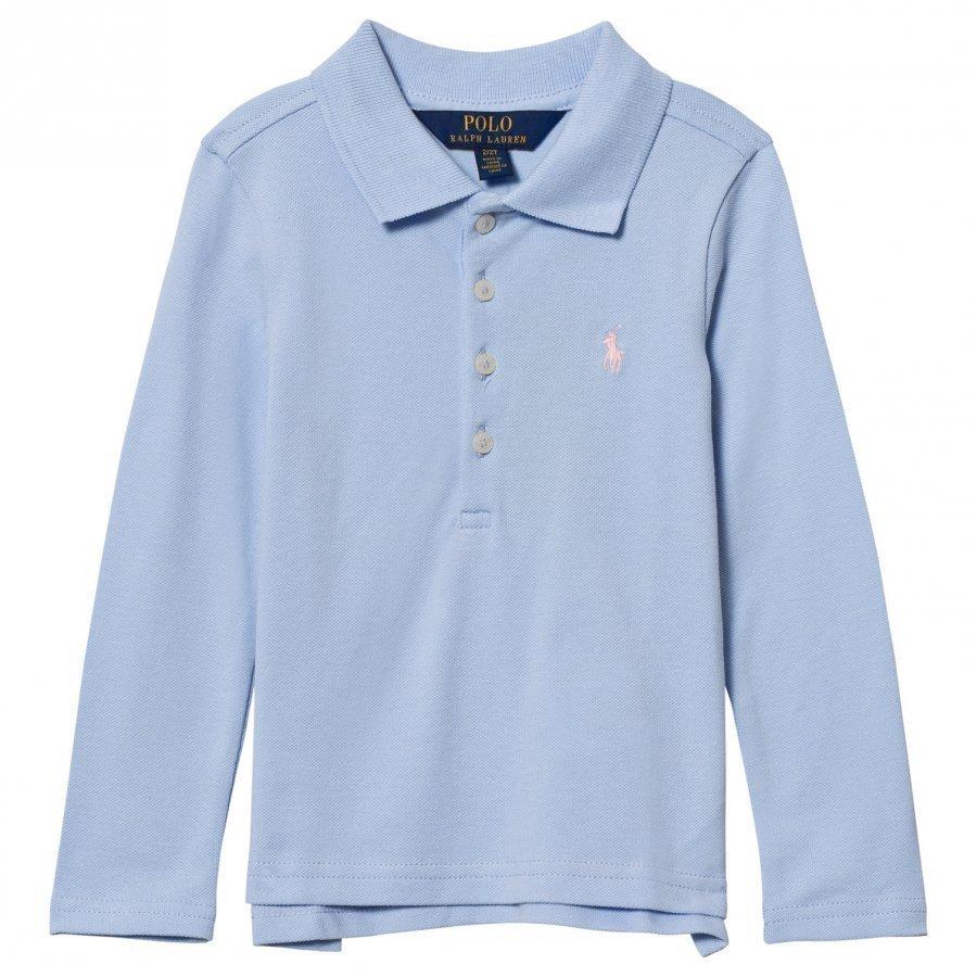 Ralph Lauren Stretch Mesh Long Sleeve Polo Blue Pikeepaita