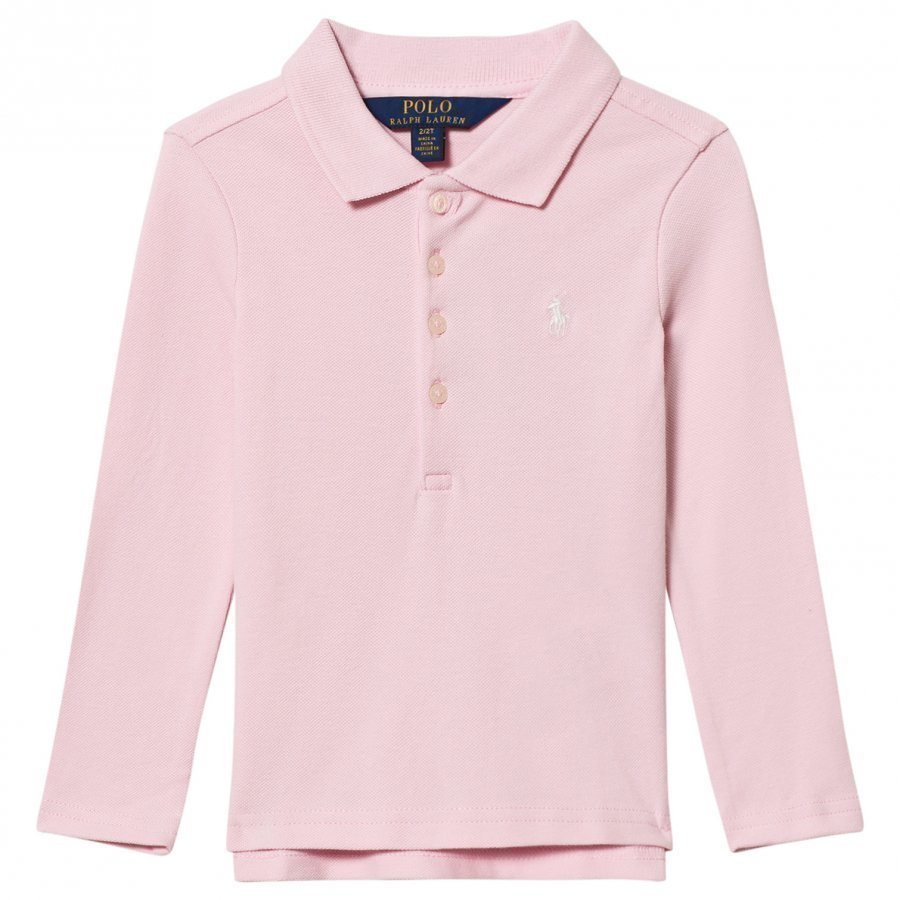Ralph Lauren Stretch Mesh Long Sleeve Polo Pink Pikeepaita
