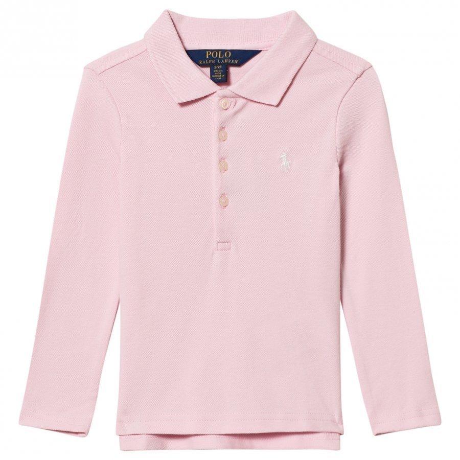 Ralph Lauren Stretch Mesh Long Sleeve Polo Pink Pikeepaita