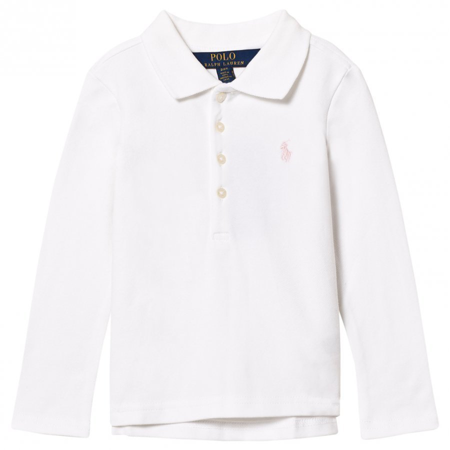 Ralph Lauren Stretch Mesh Long Sleeve Polo White Pikeepaita