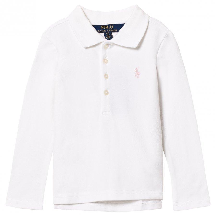 Ralph Lauren Stretch Mesh Long Sleeve Polo White Pikeepaita