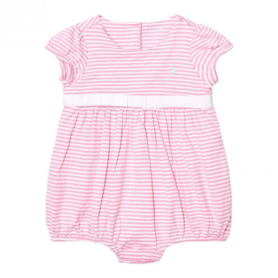Ralph Lauren Striped Cotton Jersey Romper Garden Rose/Pure White Romper Puku