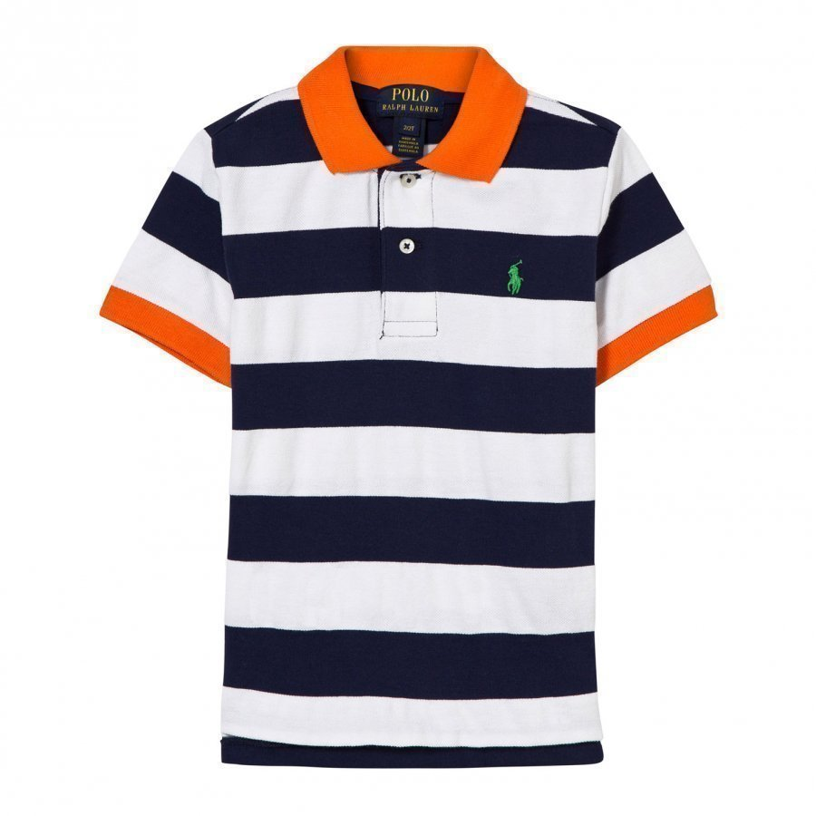 Ralph Lauren Striped Cotton Mesh Polo Shirt White Multi Pikeepaita