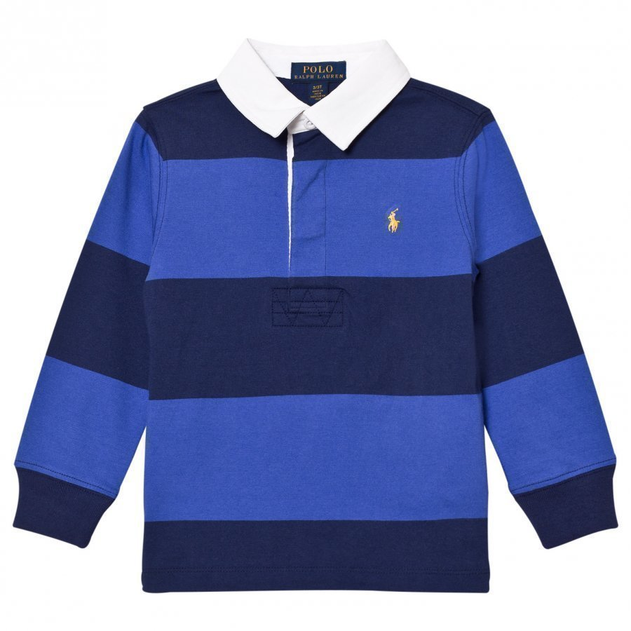 Ralph Lauren Striped Long Sleeve Rugby Shirt Barclay Blue Multi Pikeepaita