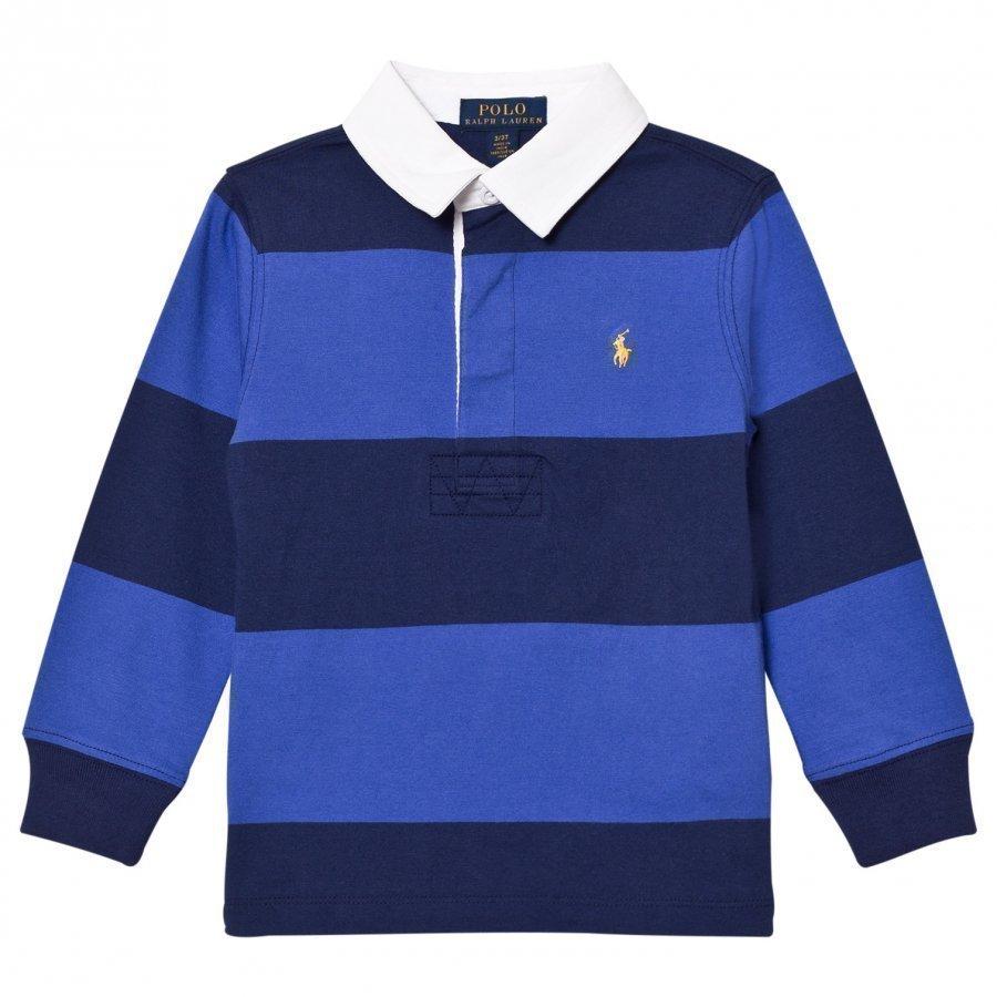Ralph Lauren Striped Long Sleeve Rugby Shirt Barclay Blue Multi Pikeepaita
