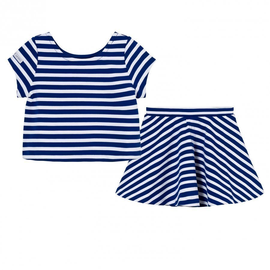 Ralph Lauren Striped Ponte Top & Skirt Set Active Royal/White Asusetti