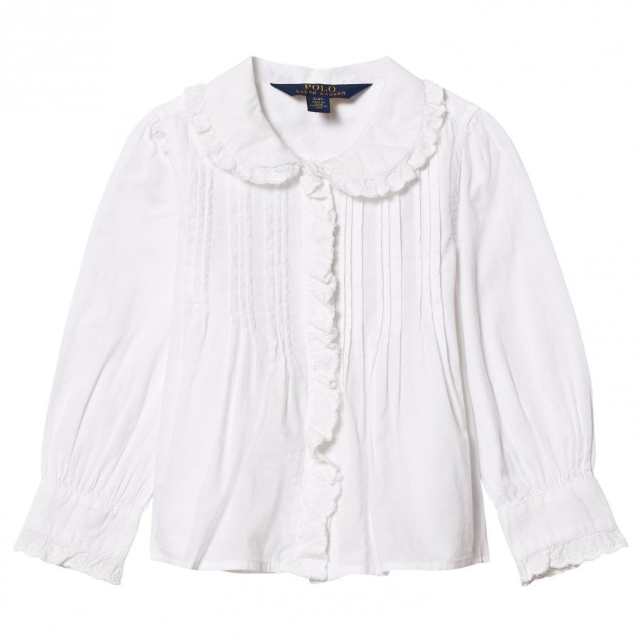 Ralph Lauren White Pintuck Front Shirt Kauluspaita
