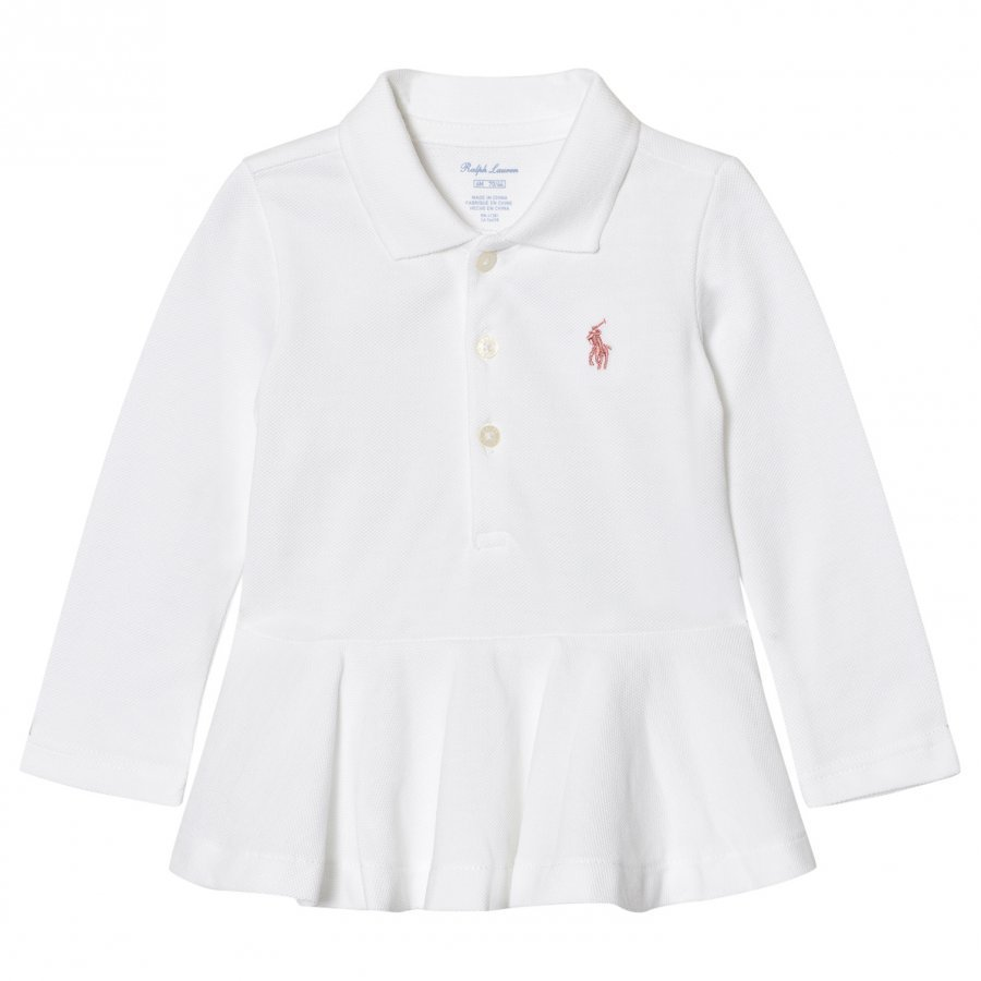 Ralph Lauren White Polo Peplum Top Pikeepaita