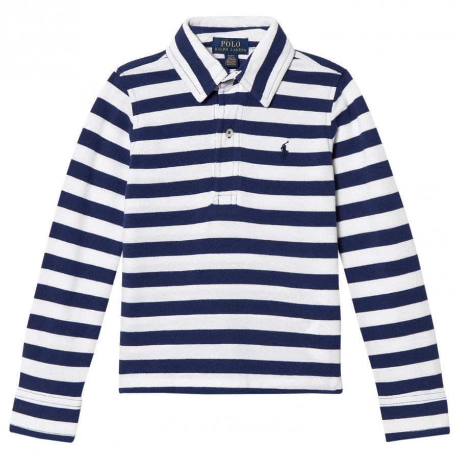 Ralph Lauren White/Navy Long Sleeve Polo Shirt Pikeepaita