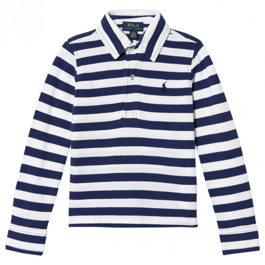 Ralph Lauren White/Navy Long Sleeve Polo Shirt Pikeepaita