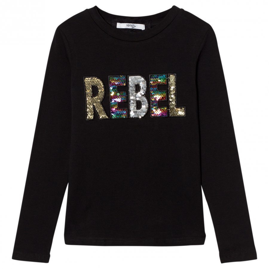 Relish Black Sequin Rebel Long Sleeve Tee Pitkähihainen T-Paita