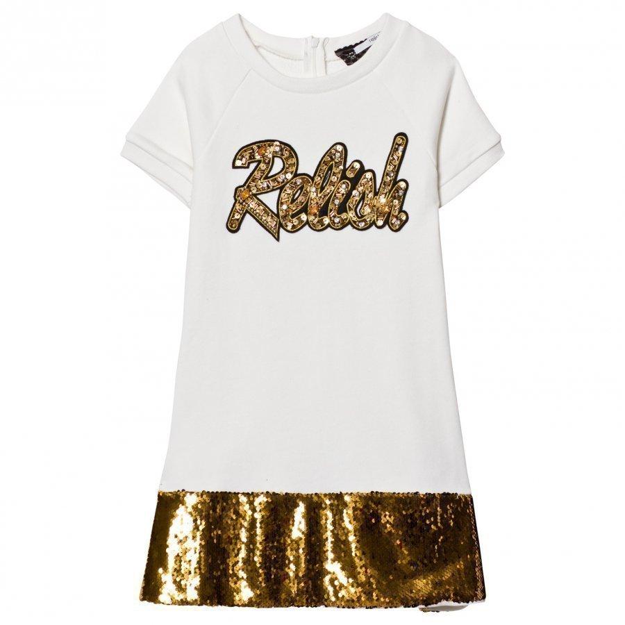 Relish Cream And Gold Sequin Detail Sweat Dress Mekko