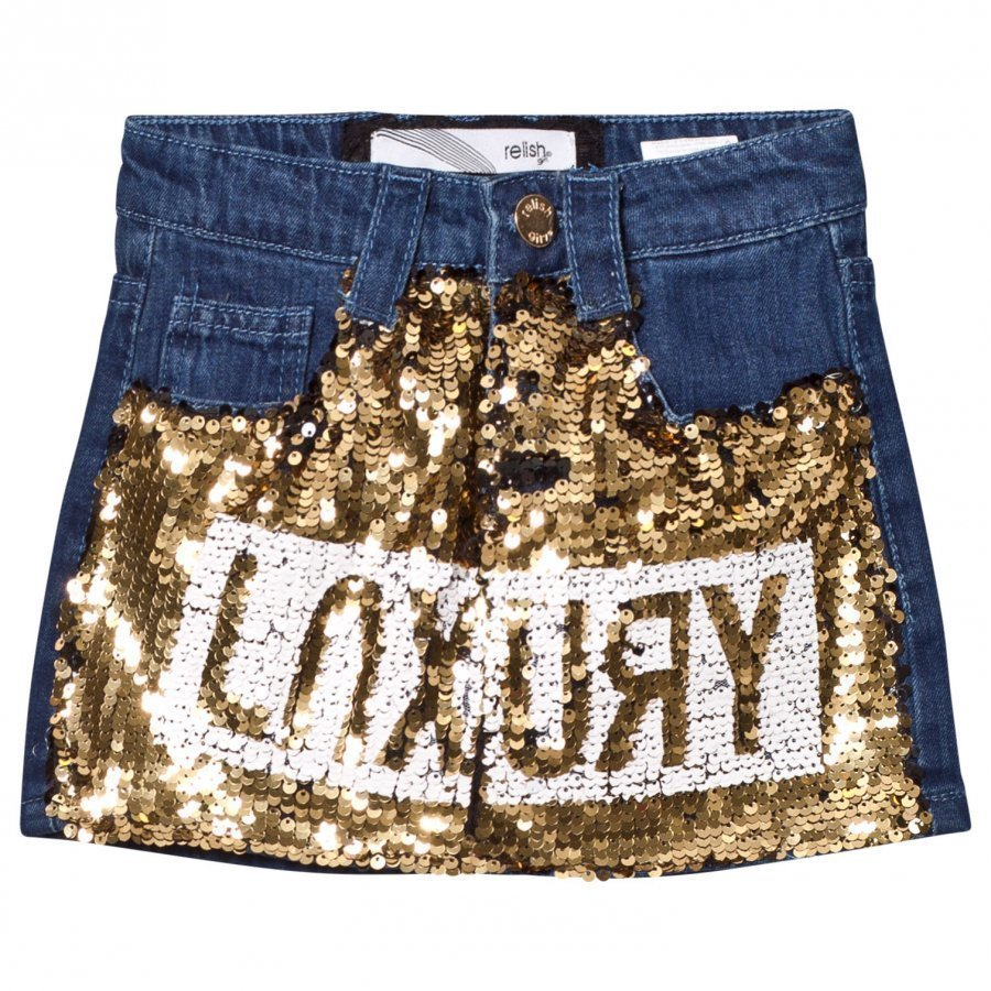 Relish Dark Denim And Gold Sequin Skirt Lyhyt Hame