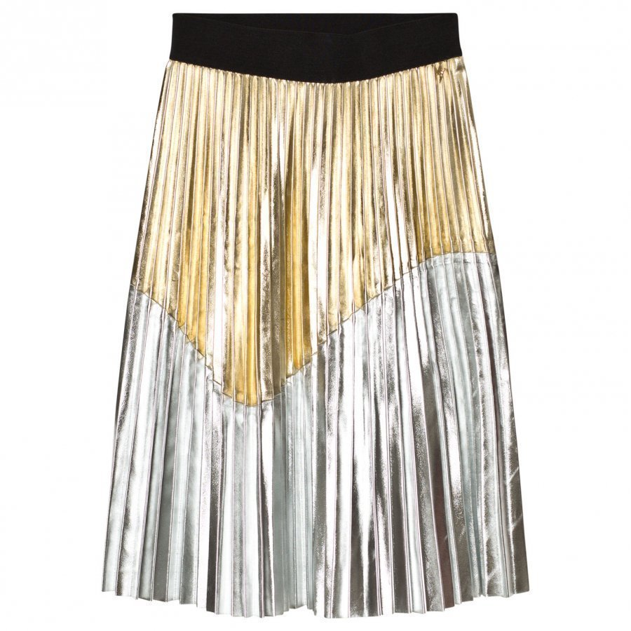 Relish Gold And Silver Pleated Skirt Kellohame