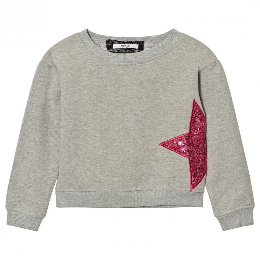Relish Grey Sequin Star Sweatshirt Oloasun Paita