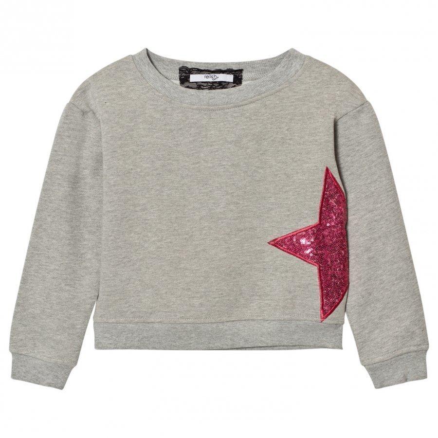 Relish Grey Sequin Star Sweatshirt Oloasun Paita