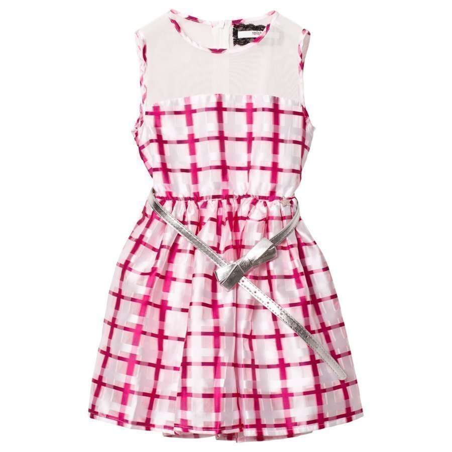 Relish Pink And White Mesh Yoke Party Dress Juhlamekko