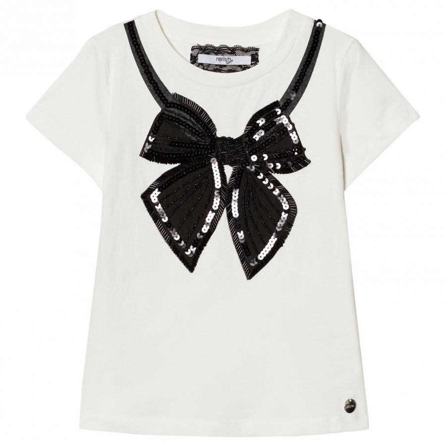 Relish White Sequin Beaded Tee T-Paita
