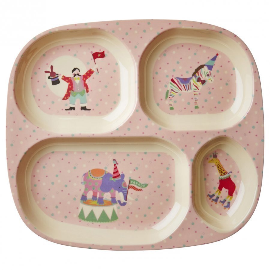 Rice A/S Melamine Divided Plate Circus Print/Soft Pink Lautanen