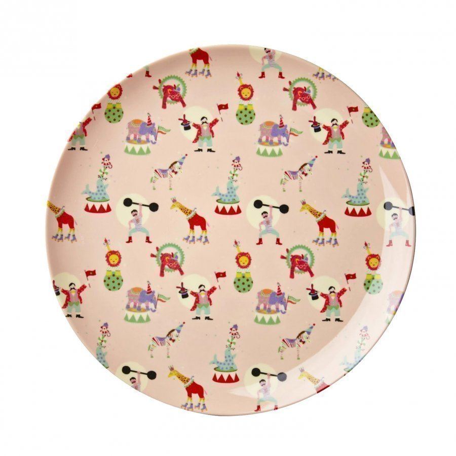 Rice A/S Melamine Lunch Plate Soft Pink Circus Print Lautanen
