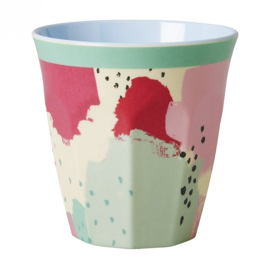 Rice A/S Melamine Medium Cup Two Tone With Splash Print Muki