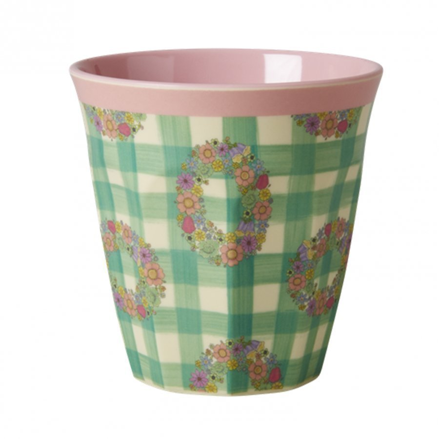 Rice A/S Melamine Medium Cup With Vichy Print Muki