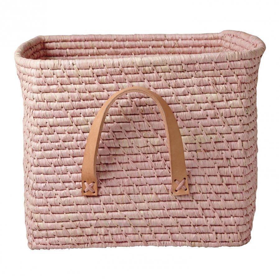 Rice A/S Pikkuinen Raffia-Kori Soft Pink Säilytyslaatikko