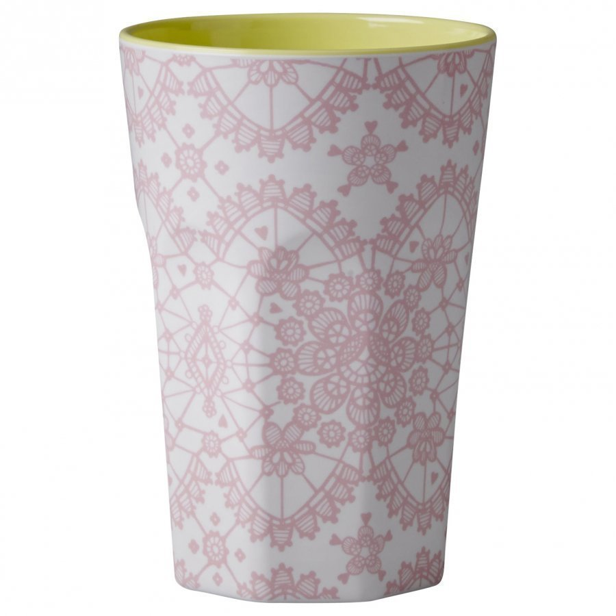 Rice A/S Tall Melamine Cup Coral Lace Print Muki