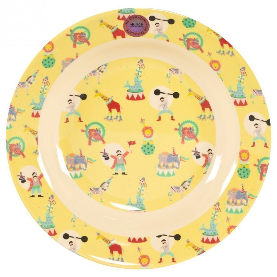 Rice Melamine Bowl With Circus Print Yellow Kulho
