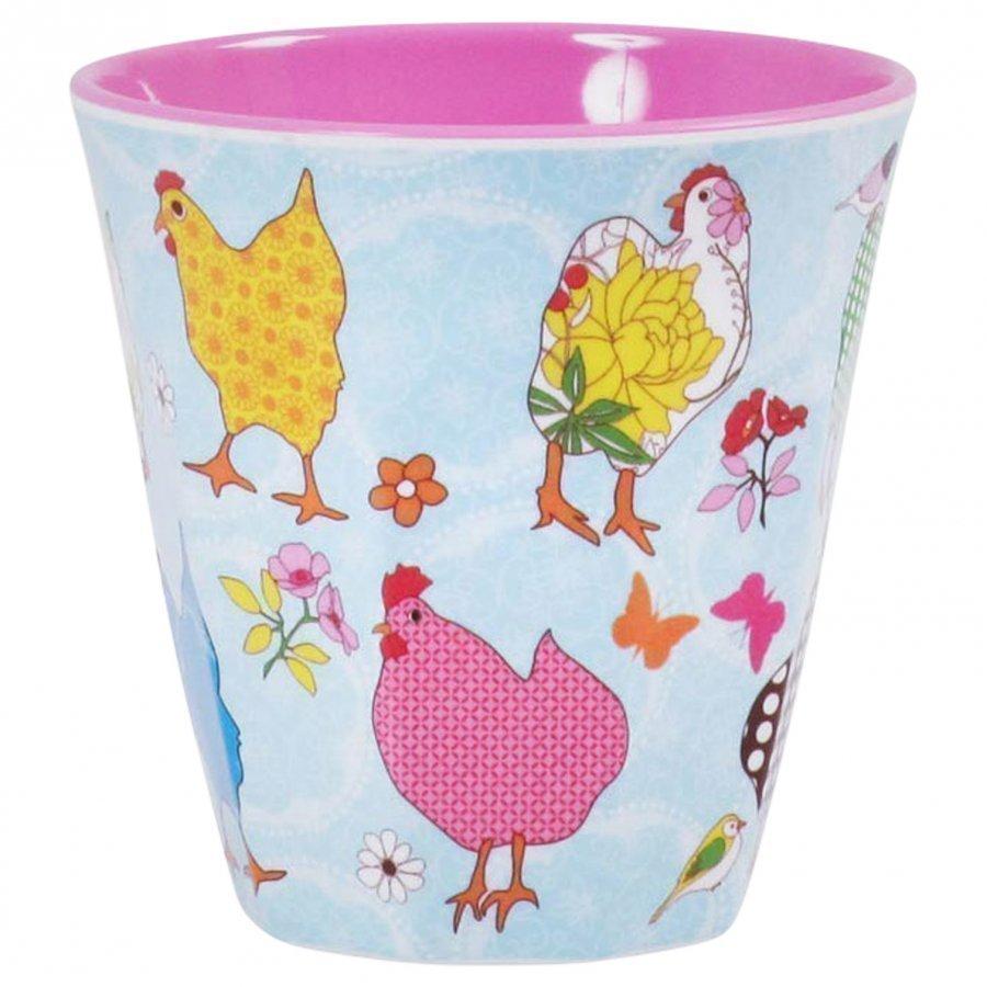 Rice Melamine Cup Hen Print Nokkamuki