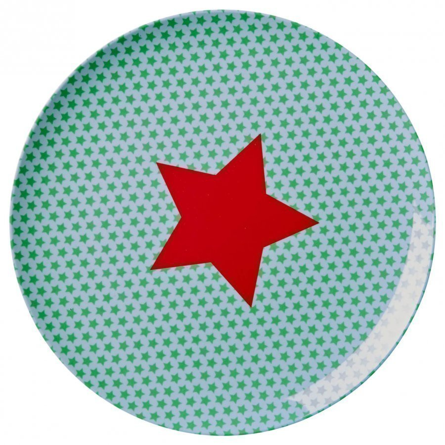 Rice Melamine Lunch Plate Blue Star Print Lautanen