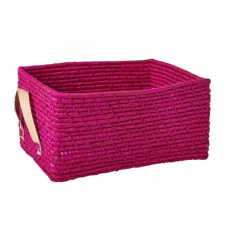 Rice Rectangular Raffia Basket With Leather Handles Fuchsia Säilytyskori
