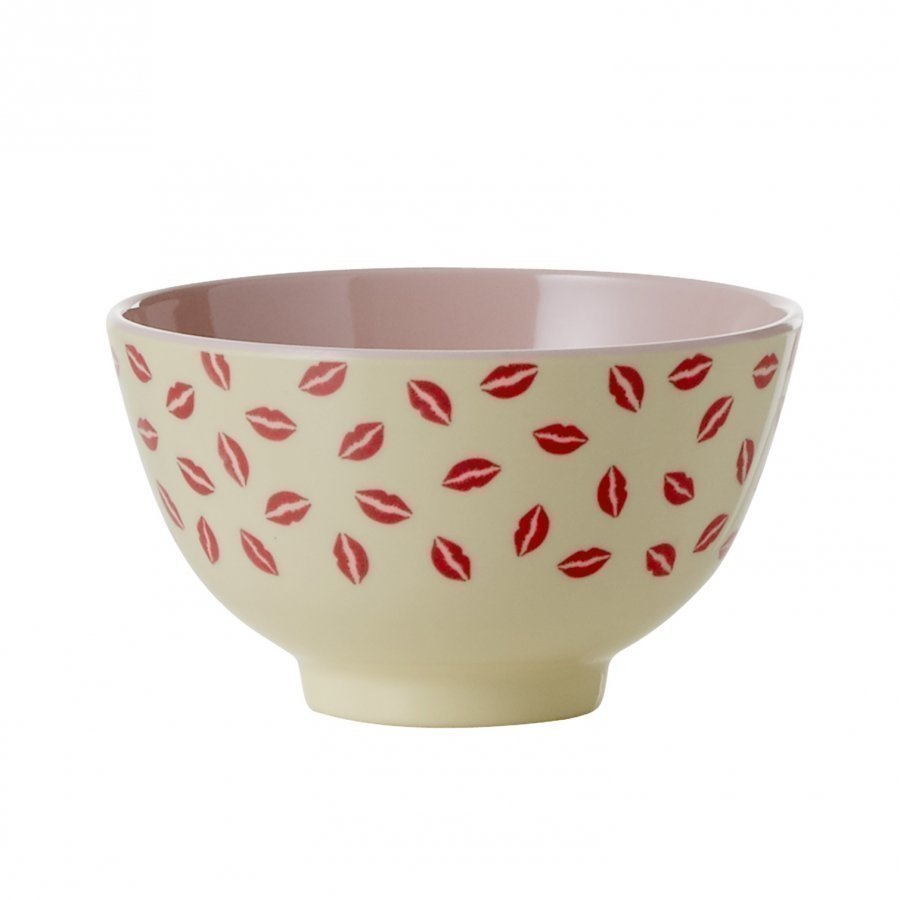 Rice Small Melamine Bowl Two Tone With Kiss Print Kulho