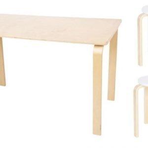 SG FUrniture Pöytä/Kirjoituspöytä Pyöreä Koivu + Jakkara Junior 2kpl Valkoinen/Koivu