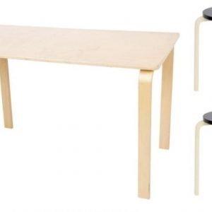 SG FUrniture Pöytä/kirjoituspöytä Pyöreä Koivu + Jakkara Junior 2kpl Musta/Koivu Paketti