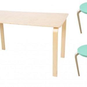 SG Furniture Pöytä/Kirjoituspöytä Koivu + Jakkara Junior 2kpl Mintunvihreä/Koivu Paketti
