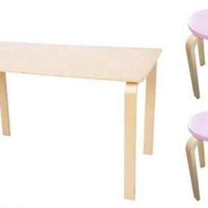 SG Furniture Pöytä/Kirjoituspöytä Koivu + Jakkara Junior 2kpl Vaaleanpunainen/Koivu Paketti