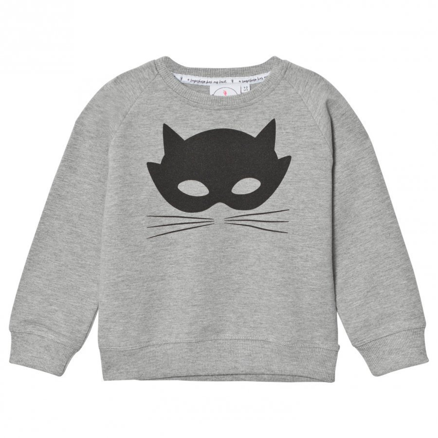 Scamp & Dude Chilled Fit Sweatshirt Grey Marl Cat Mask Oloasun Paita