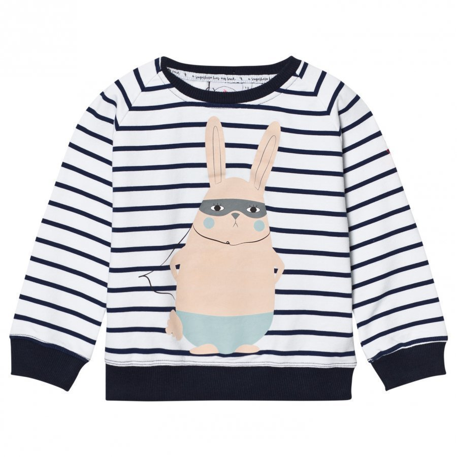 Scamp & Dude Chilled Fit Sweatshirt Navy/White Breton Bunny Oloasun Paita