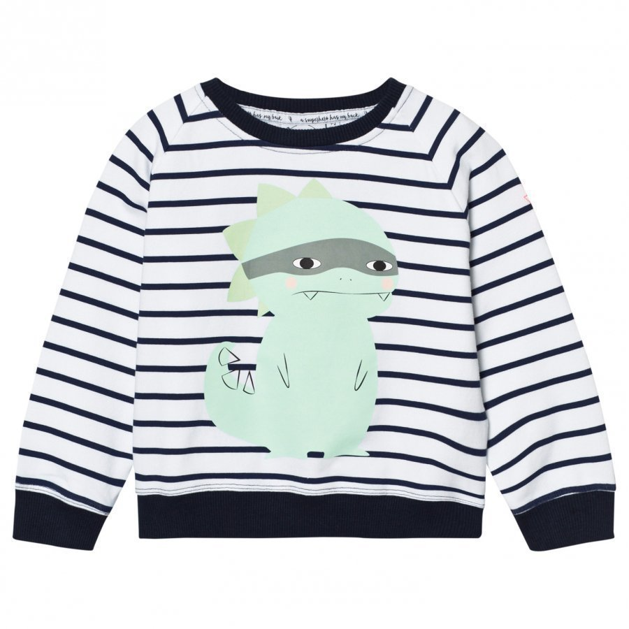 Scamp & Dude Chilled Fit Sweatshirt Navy/White Breton Dino Oloasun Paita