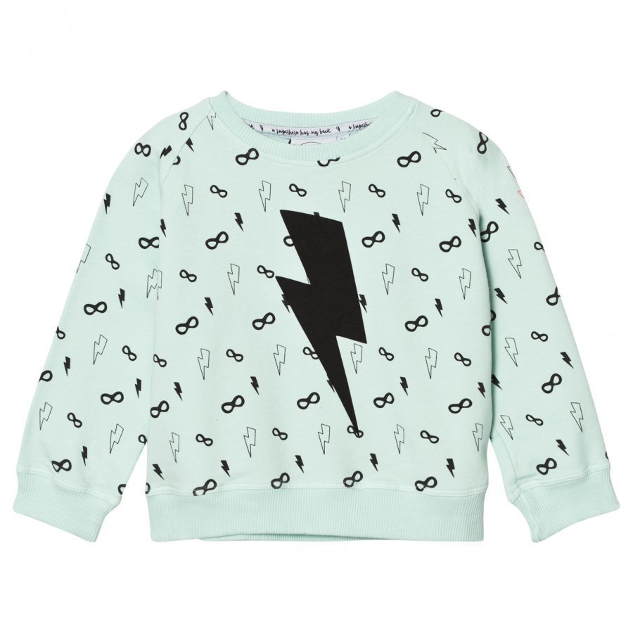 Scamp & Dude Cool Kid Sweatshirt Lightning Bolt Pale Green Oloasun Paita