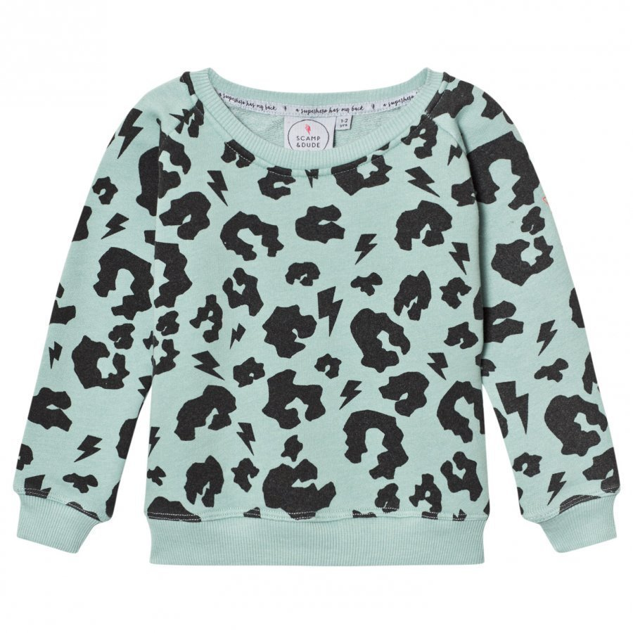 Scamp & Dude Super Soft Sweatshirt Green Leopard Oloasun Paita