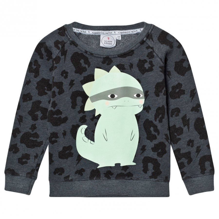 Scamp & Dude Super Soft Sweatshirt Navy Leopard Oloasun Paita