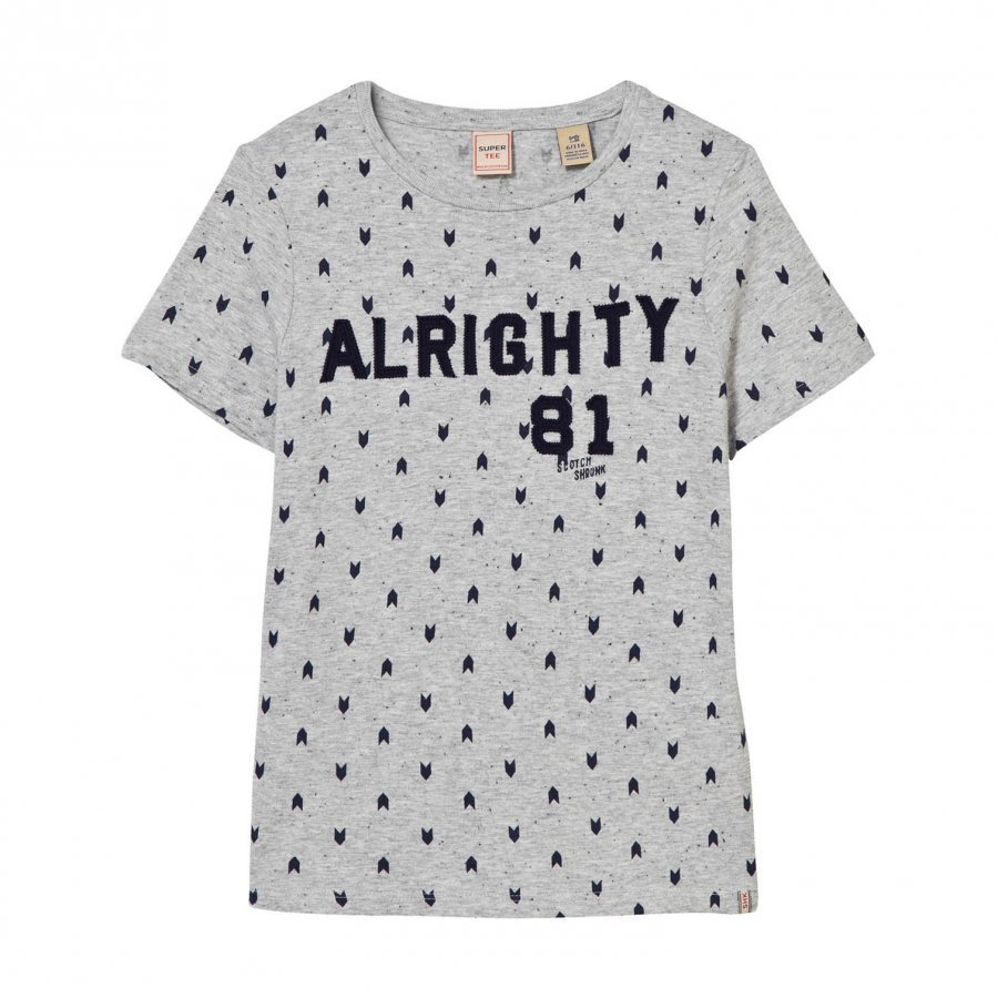 Scotch Shrunk Grey Alrighty Applique And Print Tee T-Paita