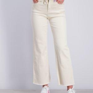Scotch & Soda High Waist Wide Leg Cotton Twill Pants Housut Valkoinen